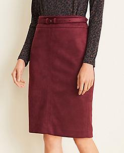앤테일러 Ann Taylor Curvy Faux Suede Belted Pencil Skirt,Vintage Burgundy
