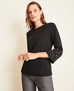 앤테일러 Ann Taylor Pearlized Bell Sleeve Top,Black