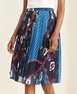 앤테일러 Ann Taylor Floral Scarf Print Pleated Skirt,Night Sky