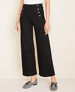 앤테일러 Ann Taylor Sailor Wide Leg Crop Jeans,Washed Black Wash
