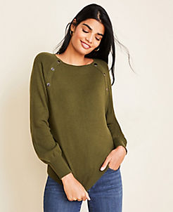 앤테일러 Ann Taylor Snap Trim Sweater,Olive Martini