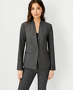앤테일러 Ann Taylor The Cutaway Blazer in Bi-Stretch,Dark Grey