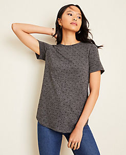 앤테일러 Ann Taylor Dot Tunic Tee,Heather Silver Lake Grey