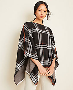 앤테일러 Ann Taylor Plaid Cape,Black