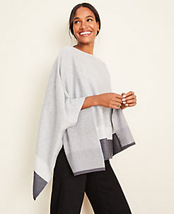 앤테일러 Ann Taylor Colorblock Cape,Glimmering Grey