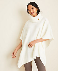 앤테일러 Ann Taylor Turtleneck Button Poncho