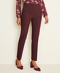 앤테일러 Ann Taylor The Side-Zip Ankle Pant in Bi-Stretch,Burgundy