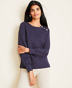 앤테일러 Ann Taylor Shoulder Button Sweatshirt,Night Sky