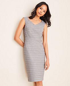 앤테일러 Ann Taylor The V-Neck Dress in Plaid,Grey Multi