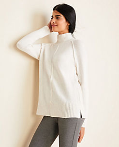 앤테일러 Ann Taylor Seamed Turtleneck Tunic Sweater