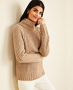 앤테일러 Ann Taylor Ribbed Turtleneck Sweater,Warm Neutral Melange