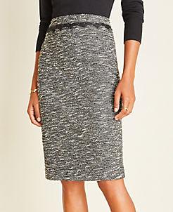 앤테일러 Ann Taylor Shimmer Boucle Lace Trim Pencil Skirt,Black Multi