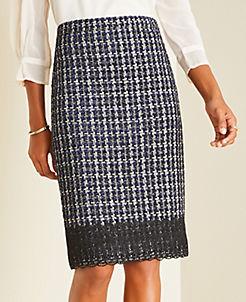 앤테일러 Ann Taylor Tweed Lace Hem Pencil Skirt,Navy Multi
