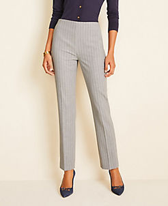 앤테일러 Ann Taylor The Side-Zip Ankle Pant in Pinstripe Bi-Stretch,Grey Stripe