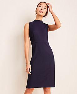 앤테일러 Ann Taylor The Mock Neck Sheath Dress in Pindot,Navy Multi
