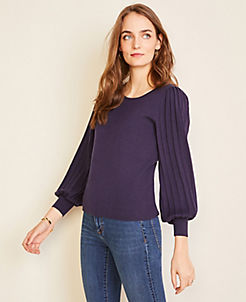 앤테일러 Ann Taylor Pleated Balloon Sleeve Sweater