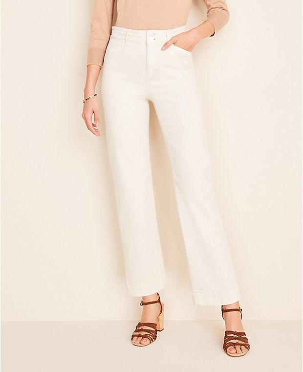 앤테일러 Ann Taylor Easy Straight Jeans in White Mirage,White Mirage