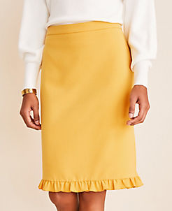 앤테일러 스커트 Ann Taylor Doubleweave Ruffle Hem Pencil Skirt,Bright Sunflower