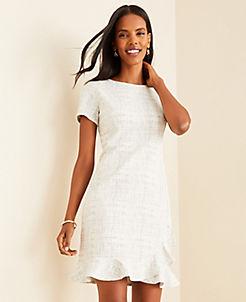 앤테일러 Ann Taylor Tweed Ruffle Hem Dress,White Multi