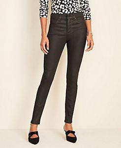 앤테일러 Ann Taylor Coated Denim Skinny Jeans,Black