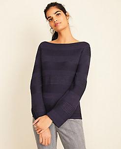 앤테일러 Ann Taylor Ottoman Stripe Boatneck Sweater