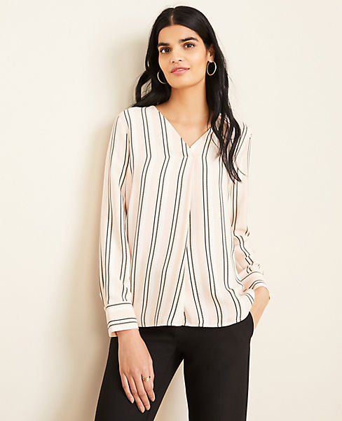 Stripe Pleated Mixed Media Top