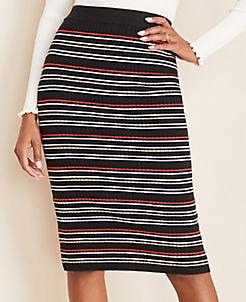 앤테일러 Ann Taylor Stripe Ribbed Sweater Pencil Skirt,Black