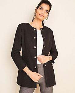 앤테일러 Ann Taylor Long Tweed Button Jacket,Black