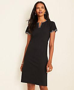 앤테일러 Ann Taylor Scalloped Ponte Sheath Dress,Black
