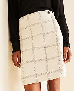앤테일러 Ann Taylor Plaid Tweed Button Skirt,Ivory Multi