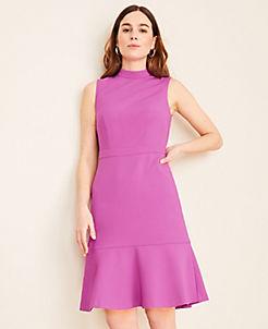 앤테일러 Ann Taylor Doubleweave Mock Neck Flounce Dress,Purple Verbena