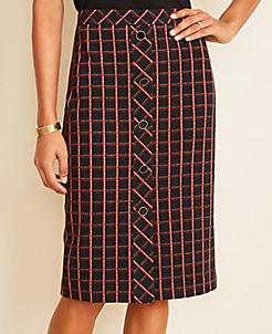 앤테일러 Ann Taylor Tweed Button Trim Pencil Skirt,Black