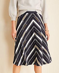 앤테일러 Ann Taylor Chain Stripe Matte Jersey Skirt,Night Sky