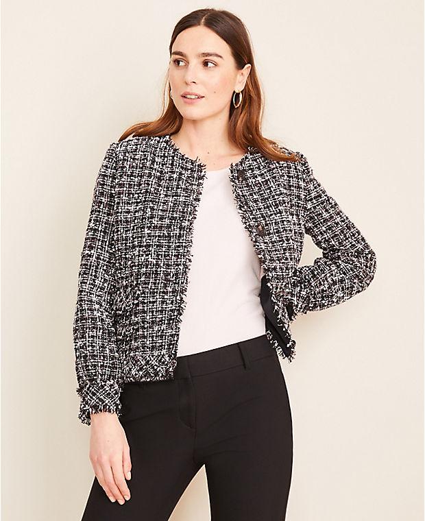 앤테일러 Ann Taylor Puff Sleeve Fringe Tweed Jacket,Black Multi