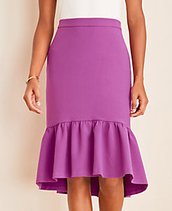 앤테일러 스커트 Ann Taylor Doubleweave Flounce Skirt,Purple Verbena