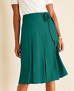 앤테일러 Ann Taylor Tie Waist Pleated Skirt,Green Alpine