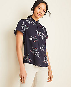 앤테일러 Ann Taylor Floral Twist Neck Top,Night Sky