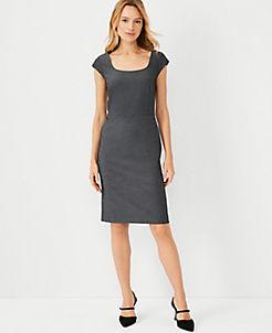 앤테일러 Ann Taylor The Scoop Neck Dress In Bi-Stretch,Dark Grey