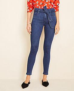 앤테일러 Ann Taylor Tie Waist Skinny Jeans in Indigo Wash,Rich Mid Indigo Wash
