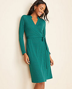 앤테일러 Ann Taylor Diamond Grid Wrap Dress,Green Alpine