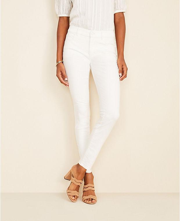 앤테일러 Ann Taylor Sculpting Pocket Skinny Jeans In White,White