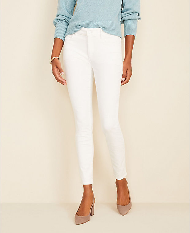 앤테일러 Ann Taylor Curvy Sculpting Pocket Skinny Jeans In White,White