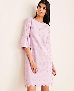 앤테일러 Ann Taylor Floral Embroidered Shift Dress,Dreamy Lilac