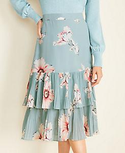 앤테일러 Ann Taylor Floral Pleated Hem Skirt,Summer Pool