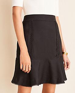 앤테일러 Ann Taylor Stitched Flounce Skirt,Black