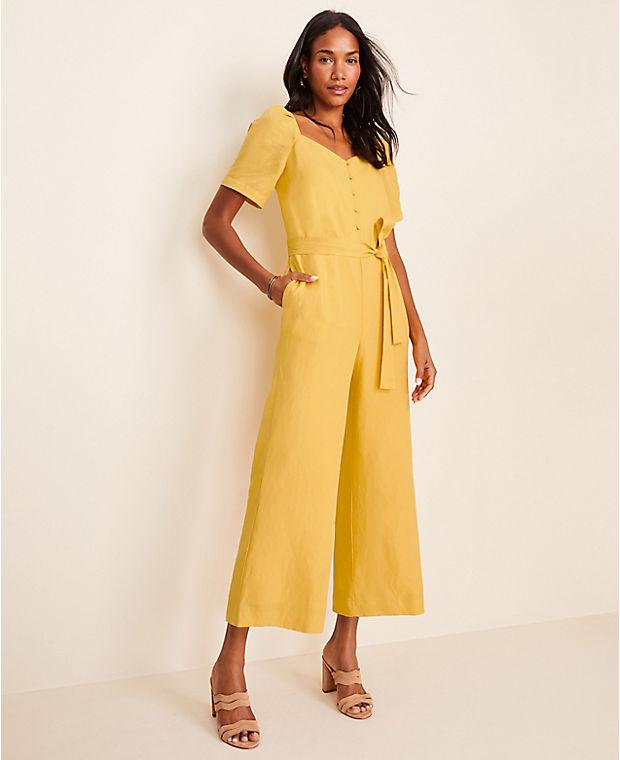 앤테일러 Ann Taylor Tie Waist Jumpsuit,Bright Sunflower