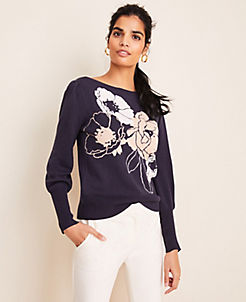 앤테일러 Ann Taylor Floral Jacquard Puff Sleeve Sweater,Night Sky