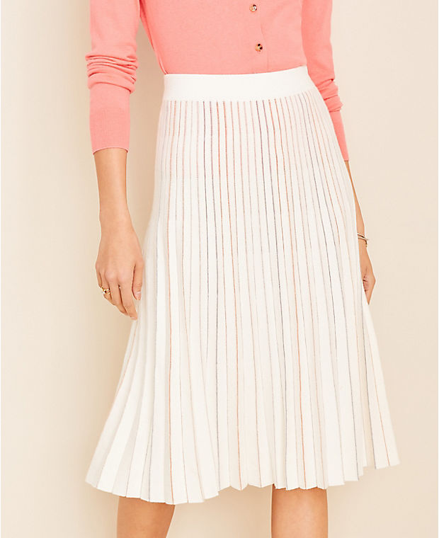 앤테일러 Ann Taylor Metallic Pleated Sweater Skirt,Winter White