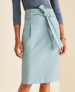 앤테일러 Ann Taylor Pleated Tie Waist Pencil Skirt,Summer Pool