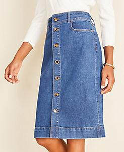 앤테일러 Ann Taylor Denim Button Front Skirt,Bright Indigo Wash